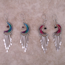 Woven Thread Crescent Earrings w. drops