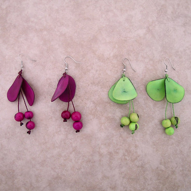 Amazon Tagua w/ Acai Seed Earrings
