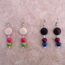Amazon Tagua Disk Earrings w/ 2 Seeds