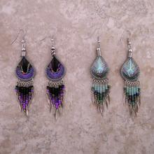 Woven Thread Drops Earrings w/ beads