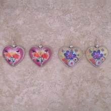 Woven Thread Heart Earrings Hand Made Peru