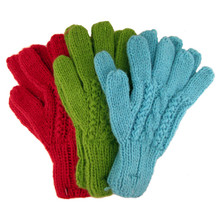 Alpaca Hand Knit Cable Gloves