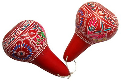 Gourd Maraca Pairs Floral and Nature Pattern Assorted