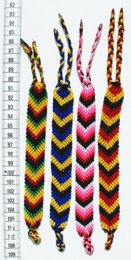 """Multicolored Wide Bracelets Arrow Pattern 1.50"""" Wide x 9"""" (Four Pack)"""