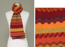 "Fine Geometric Knit 100% Alpaca Scarf Fall Shades 8"" x 72"""