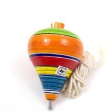 """Mexican Top 3.5"""" Hand Painted Wood with String Multicolored Assorted"""