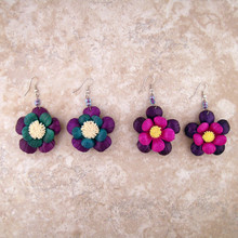 Double Petal Painted Leather Floral Earrings 2""