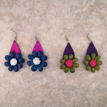 Flower and Leaf Leather Earring Set in Assorted Colors 2.5""