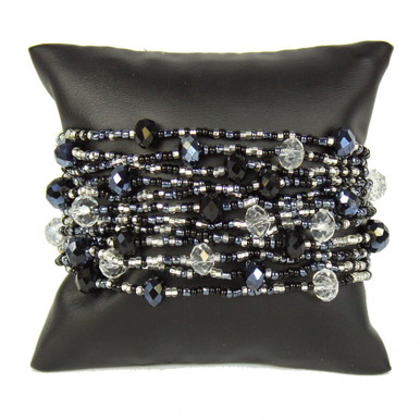 "Gleaming Crystals and Glass Beads Twelve Strands 3"" Wide Black and White Bracelet"