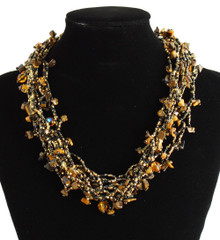 "Multi Strand Magnetic Clasp Glass Beads 19"" Long Copper Amber Necklace"