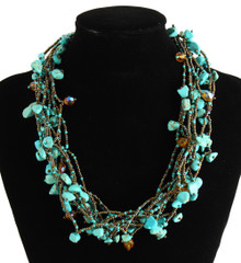 "Multi Strand Magnetic Clasp Glass Beads 19"" Long Turquoise Copper Necklace"