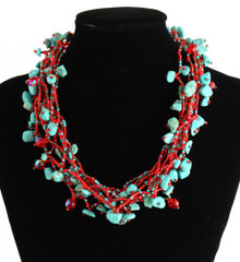 "Multi Strand Magnetic Clasp Glass Beads 19"" Long Turquoise Coral Necklace"