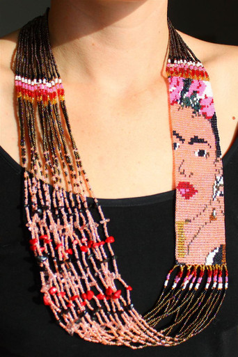 """Frida Magnetic Clasp Glass Beads 2.5"""" x 22"""" Long  Superfine Necklace"""