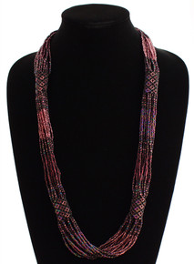 "Glass Beaded Clusters and Strands Magnetic Clasp 30"" Long Purple Necklace"