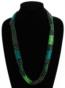 "Glass Beaded Clusters and Strands Magnetic Clasp 30"" Long Emerald Green Necklace"