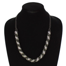 "Magnetic Clasp Glass Beads 19"" Long Black and Crystal DNA Necklace"