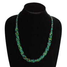 "Magnetic Clasp Glass Beads 19"" Long Purple Green and Crystal DNA Necklace"