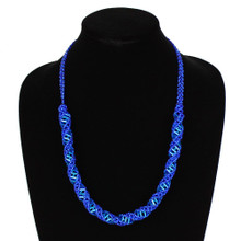 "Magnetic Clasp Glass Beads 19"" Long Electric Blue Crystal DNA Necklace Hand Made"