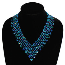 Interwoven Beads Lola Necklace Blue Crystals Magnetic Clasp NE165-108