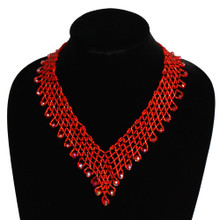 Interwoven Beads Lola Necklace Ruby Red Crystals Magnetic Clasp