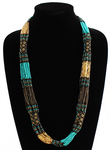 "Glass Beaded Clusters and Strands Magnetic Clasp 30"" Long Turquoise, Bronze and Gold Necklace Handcrafted Zulu"