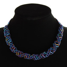 """Magnetic Clasp Glass Beads 18"""" Blue Iris and Light Blue DNA Necklace Hand Made"""
