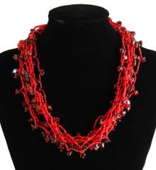 "Red Garnet Strand Magnetic Clasp Glass Beads 19"" Long Necklace Hand Made NE101-111"