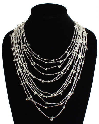 """Cascade Necklace Woven Bead Crystals Magnetic Clasp White Glass 24"""""""