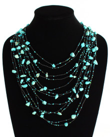 """Cascade Necklace Woven Bead Crystals Magnetic Clasp Turquoise and Black 24"""""""