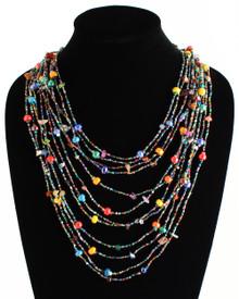 "Cascade Necklace Woven Bead Crystals Magnetic Clasp Multicolor 24"" NE104-101"