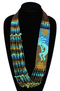 "Magnetic Clasp Glass Kokopelli Dance 2.5"" x 22"" Long Superfine Necklace Hand Beaded NE610-463"