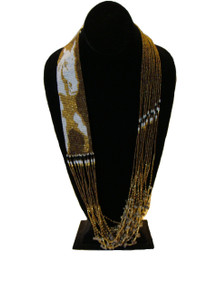 Horse Equestrian Western Gorgeous Hand Beaded Unique Necklace Bronze, Gold and White