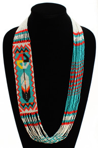Medicine Wheel and Feather Story Necklace Turquoise, Red and White