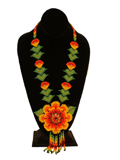 "Flower Leaf Fine Artisan Glass Beads Long Necklace 22"" Collar Jewelry Guatemala (NE812)"