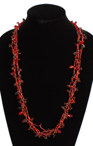"Red Garnet Strand Magnetic Clasp Glass Beads 30"" Long Necklace Hand Made (NE103-111) Sanyork Fair Trade"