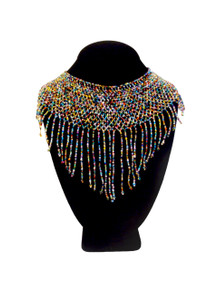 "Egyptian Necklace Woven Multi Strand Magnetic Clasp Multi Color Glass Beaded 20"" Long Necklace (NE113-101)"