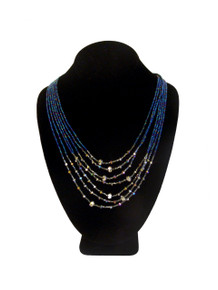 Seven Strand with Crystals Necklace Magnetic Blue Iris and Hematite Magnetic Clasp NE166-1