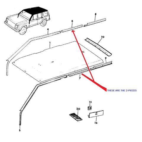 Headliner Upper Roof Trim Molding Rear Door Piece OEM