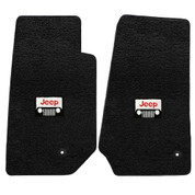 JK 4 Piece Black W/Headlight Logo Floor Mat Set Jeep Wrangler 2007-2010