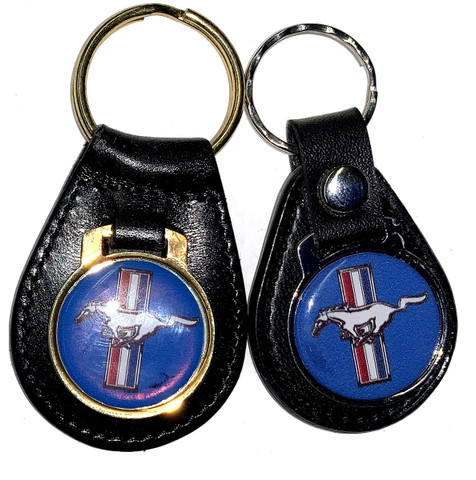 PAIR OF BLACK LEATHER BLUE RUNNING PONY KEY CHAINS