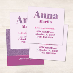 Glitter Purple Name Calling Cards
