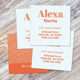 Glitter Orange Name Calling Cards