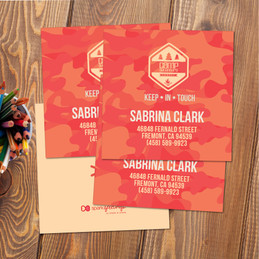 Camouflage Camp Orange Calling Cards