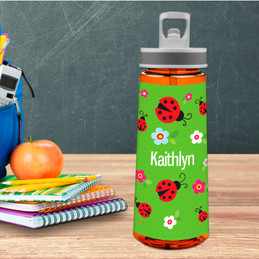 Curious Lady Bug Sports Water Bottle