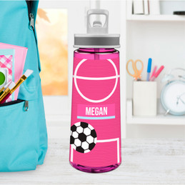 Girl Soccer Fan - Pink Sports Water Bottle