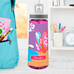 Surfing The Waves Sports Water Bottle