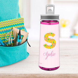Flower Initial Sports Water Bottle