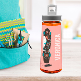 Cool Girl Skateboard Sports Water Bottle