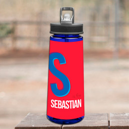 Double Initial Red Sports Water Bottle