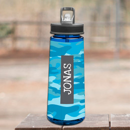 Blue Camouflage Sports Water Bottle